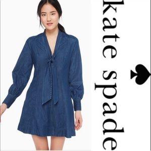 Kate Spade Denim Tie Neck Dress
